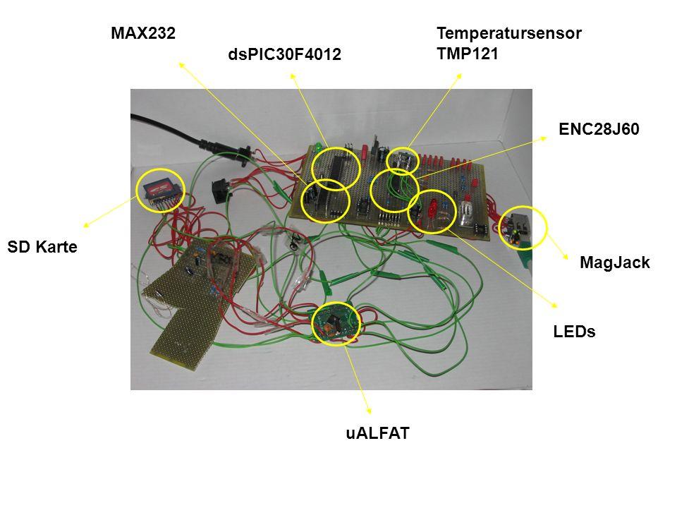MAX232 Temperatursensor TMP121 dsPIC30F4012 ENC28J60 SD Karte MagJack LEDs uALFAT