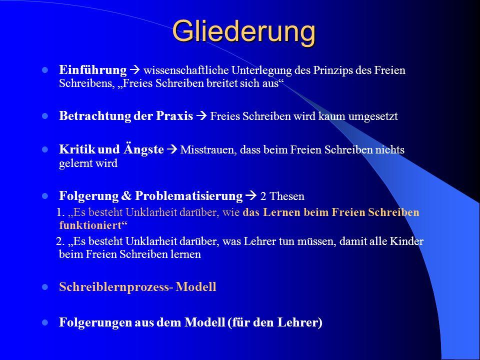 """Gliederung Einführung  wissenschaftliche Unterlegung des Prinzips des Freien Schreibens, """"Freies Schreiben breitet sich aus"""