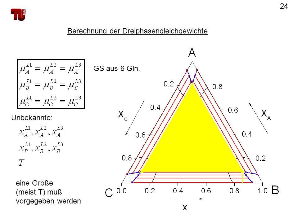 Berechnung der Dreiphasengleichgewichte