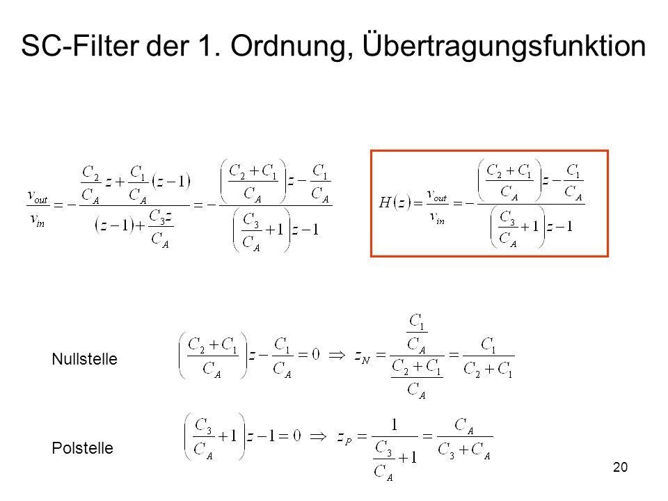 SC-Filter der 1. Ordnung, Übertragungsfunktion