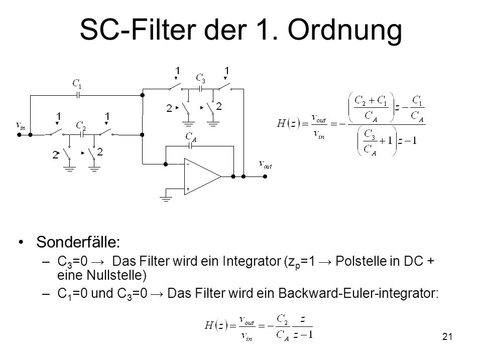 SC-Filter der 1. Ordnung Sonderfälle: