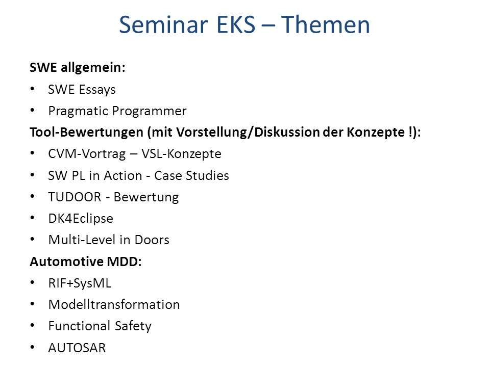 Seminar EKS – Themen SWE allgemein: SWE Essays Pragmatic Programmer