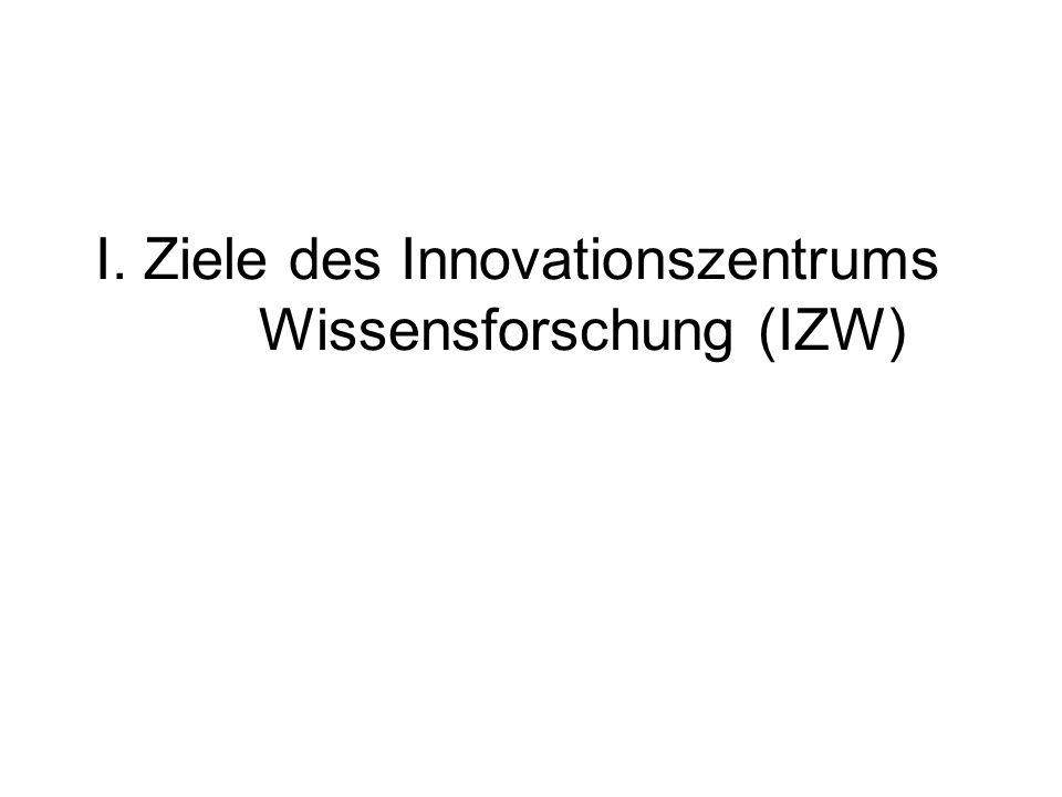 I. Ziele des Innovationszentrums Wissensforschung (IZW)