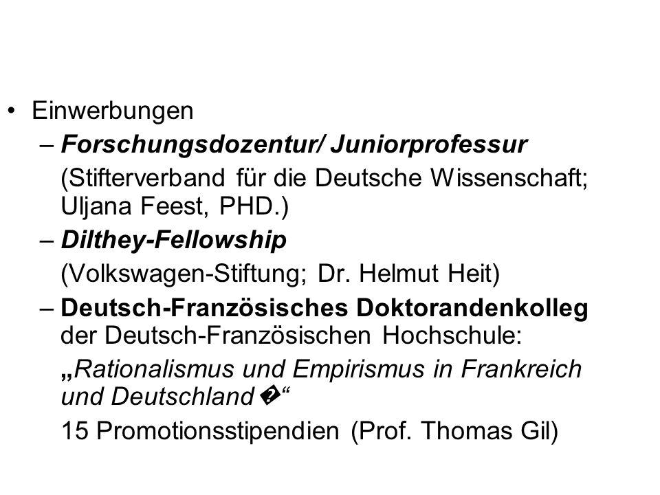 Einwerbungen Forschungsdozentur/ Juniorprofessur. (Stifterverband für die Deutsche Wissenschaft; Uljana Feest, PHD.)