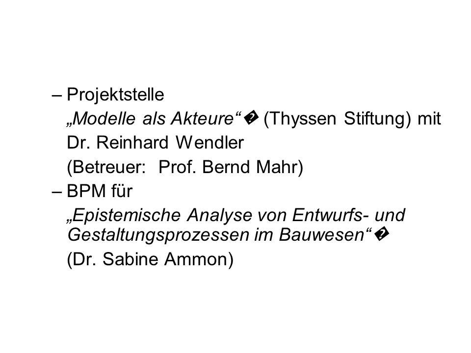 """Projektstelle """"Мodelle als Akteure � (Thyssen Stiftung) mit. Dr. Reinhard Wendler. (Betreuer: Prof. Bernd Mahr)"""
