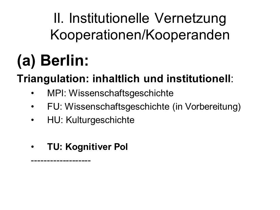 II. Institutionelle Vernetzung Kooperationen/Kooperanden