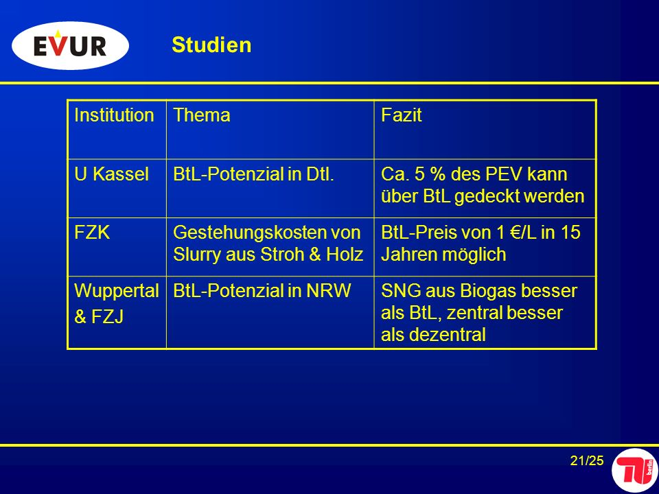 Studien Institution Thema Fazit U Kassel BtL-Potenzial in Dtl.