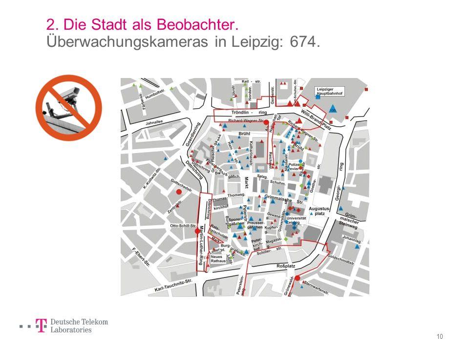 2. Die Stadt als Beobachter. Überwachungskameras in Leipzig: 674.