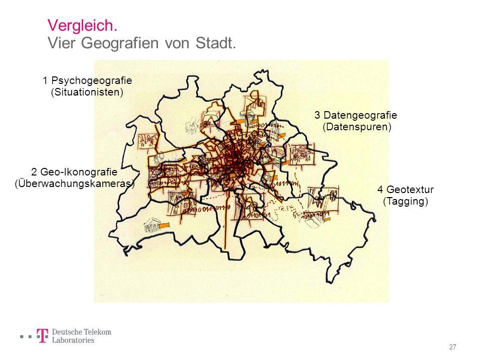 Vergleich. Vier Geografien von Stadt.