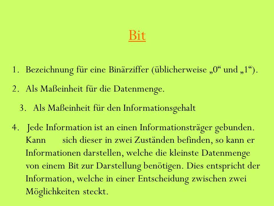 """Bit Bezeichnung für eine Binärziffer (üblicherweise """"0 und """"1 )."""