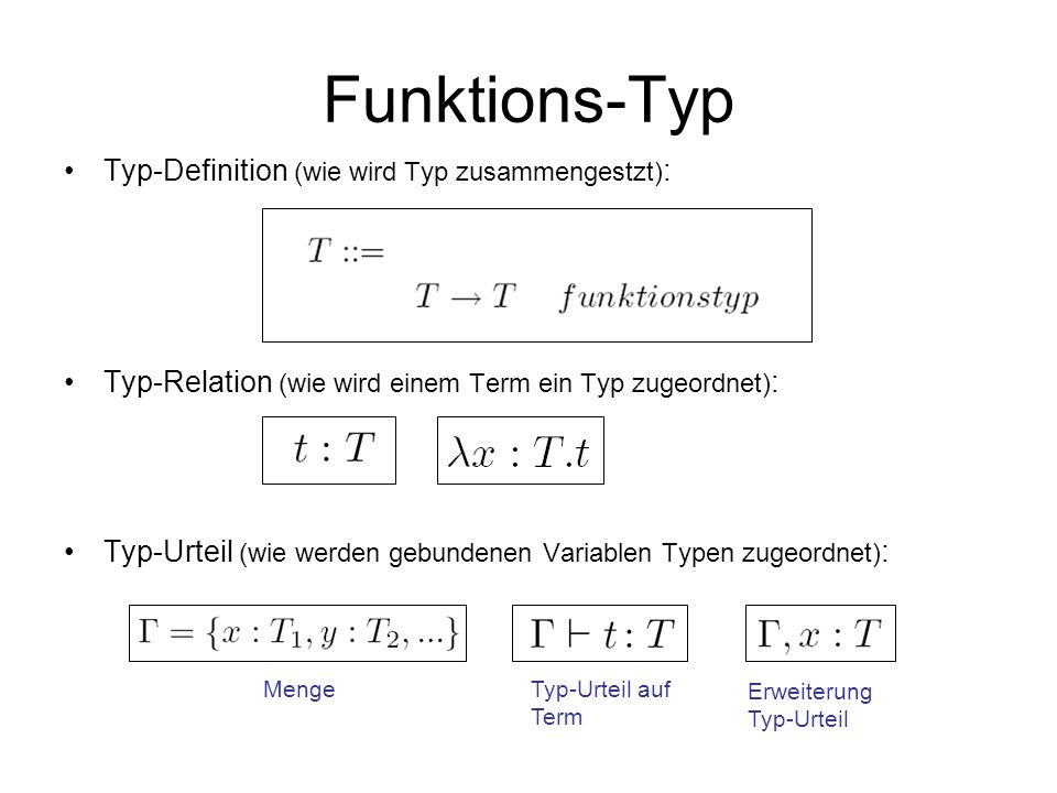 Funktions-Typ Typ-Definition (wie wird Typ zusammengestzt):