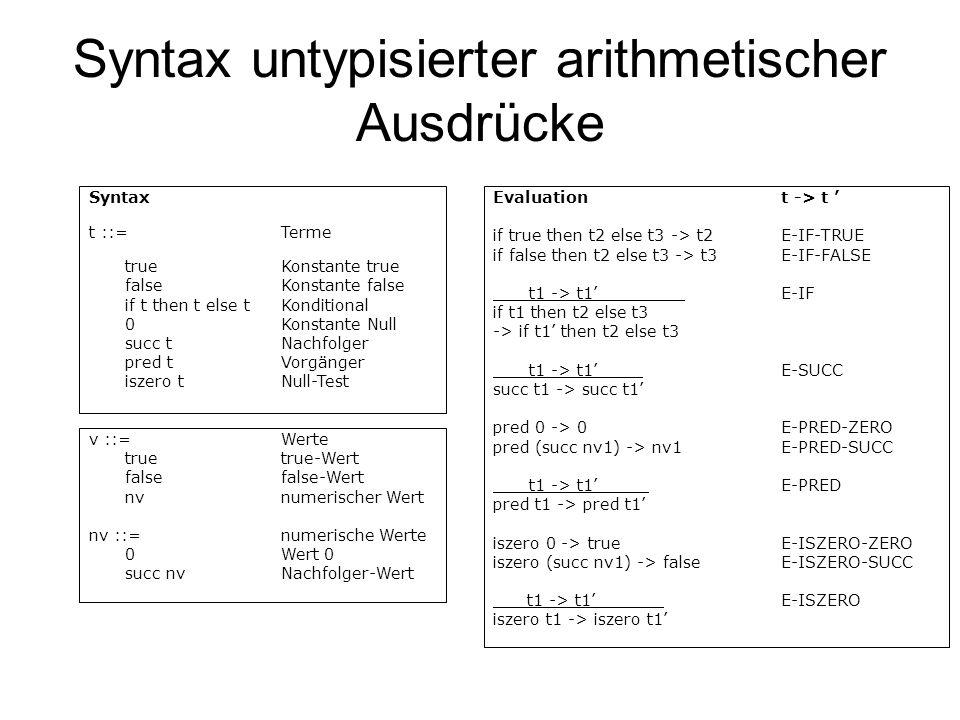 Syntax untypisierter arithmetischer Ausdrücke