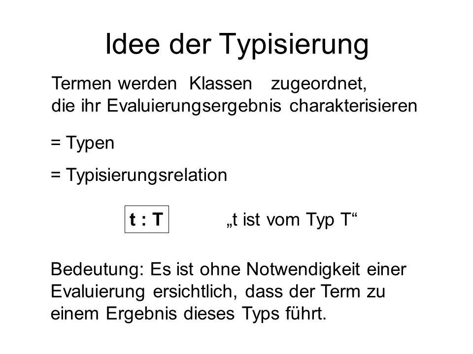 Idee der Typisierung Termen werden Klassen zugeordnet,