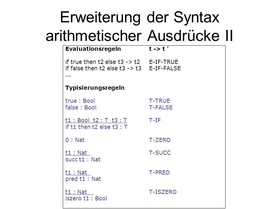 Erweiterung der Syntax arithmetischer Ausdrücke II