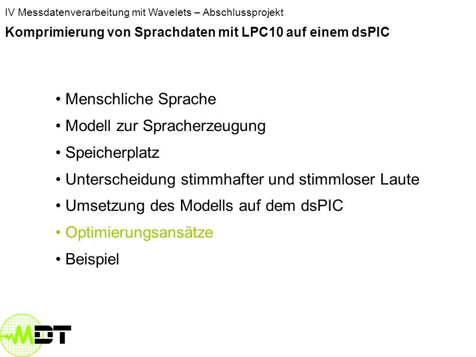 Modell zur Spracherzeugung Speicherplatz