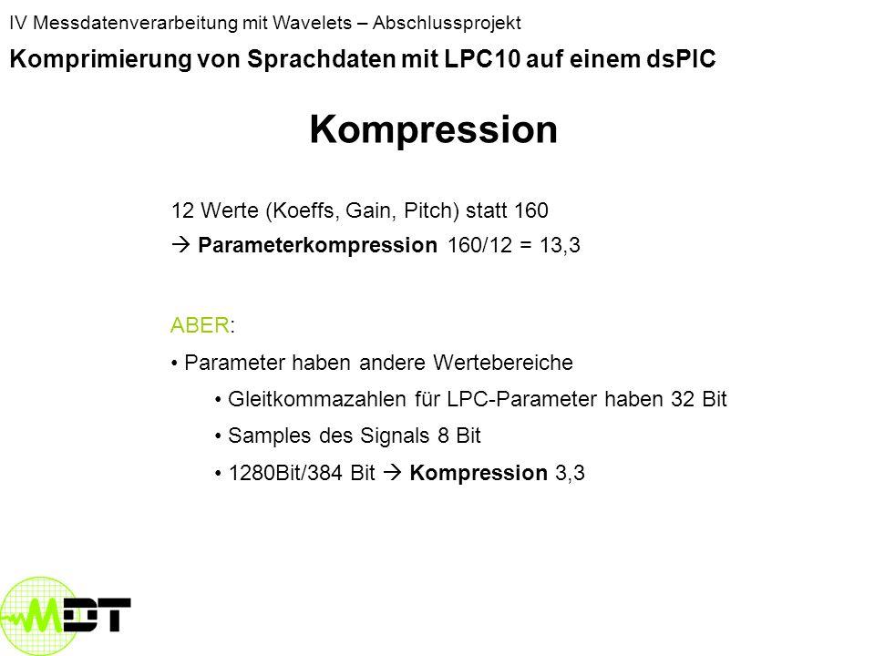 Kompression Komprimierung von Sprachdaten mit LPC10 auf einem dsPIC
