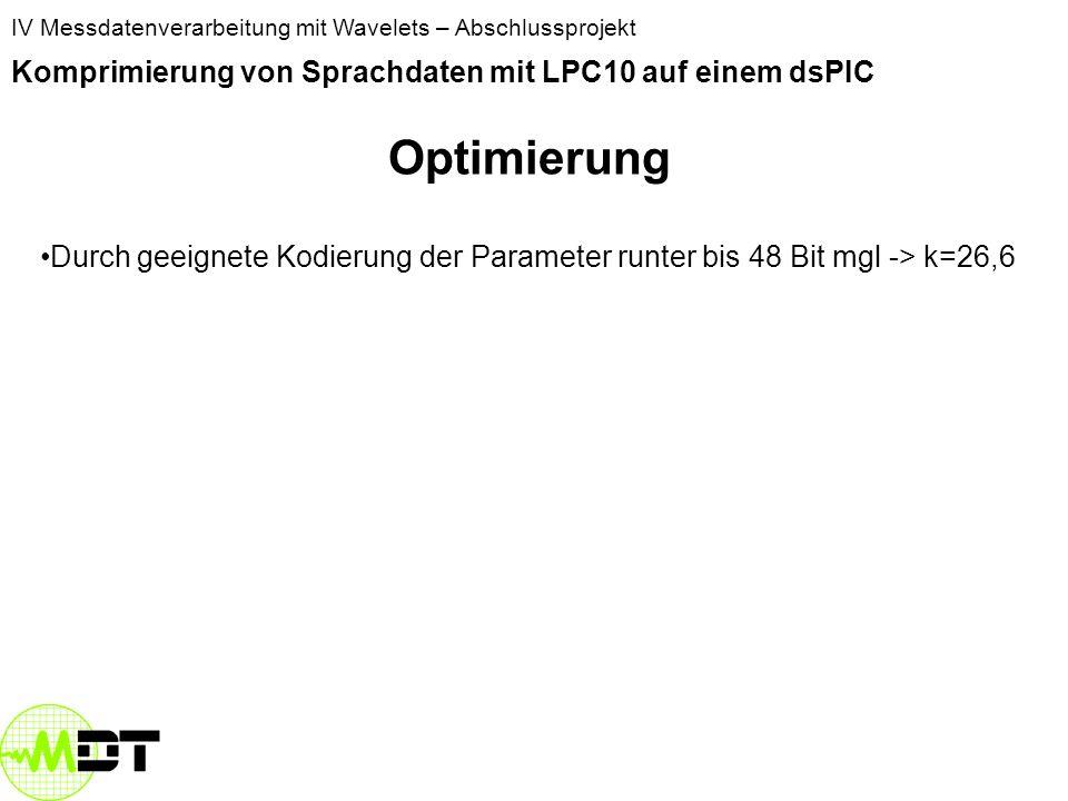 Optimierung Komprimierung von Sprachdaten mit LPC10 auf einem dsPIC