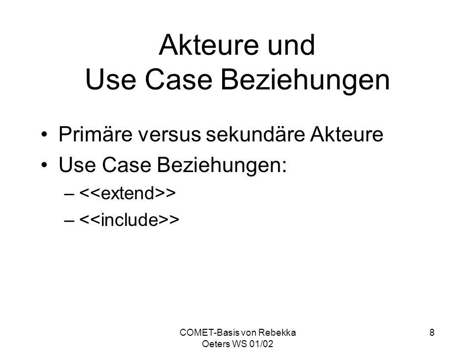 Akteure und Use Case Beziehungen