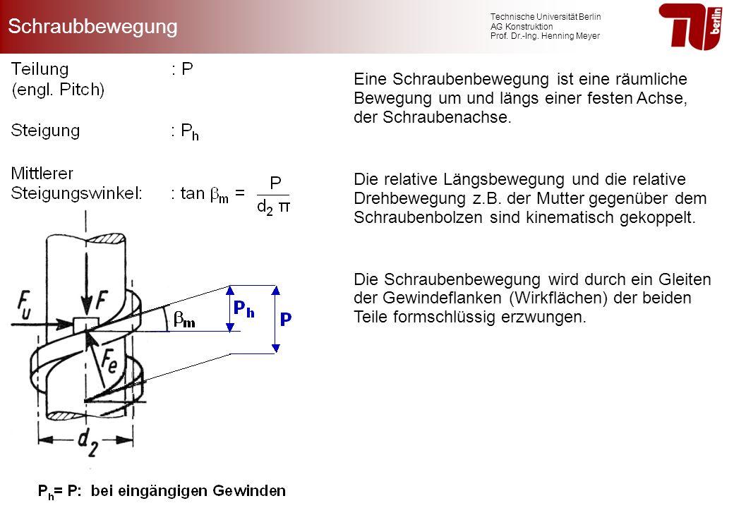 Schraubbewegung Eine Schraubenbewegung ist eine räumliche Bewegung um und längs einer festen Achse, der Schraubenachse.