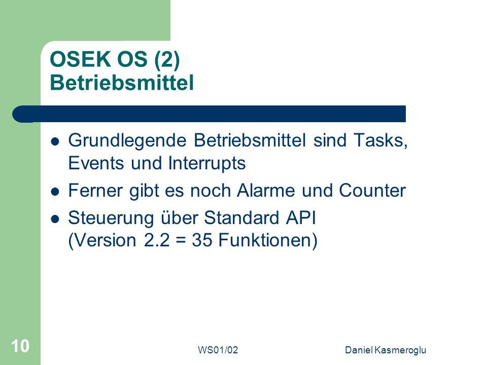 OSEK OS (2) Betriebsmittel