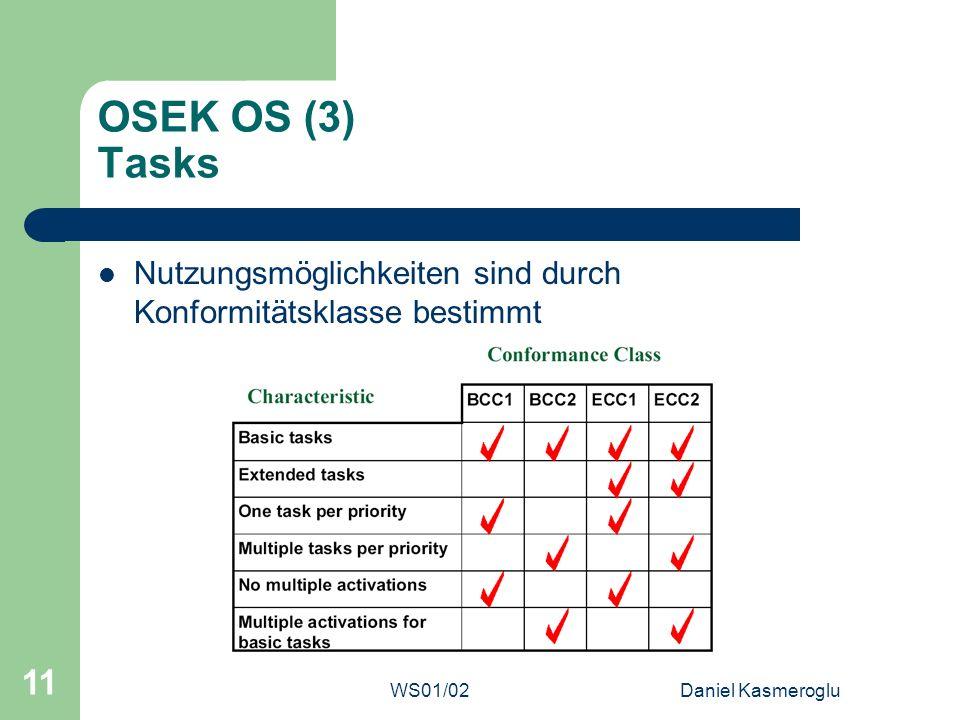 OSEK OS (3) Tasks Nutzungsmöglichkeiten sind durch Konformitätsklasse bestimmt.