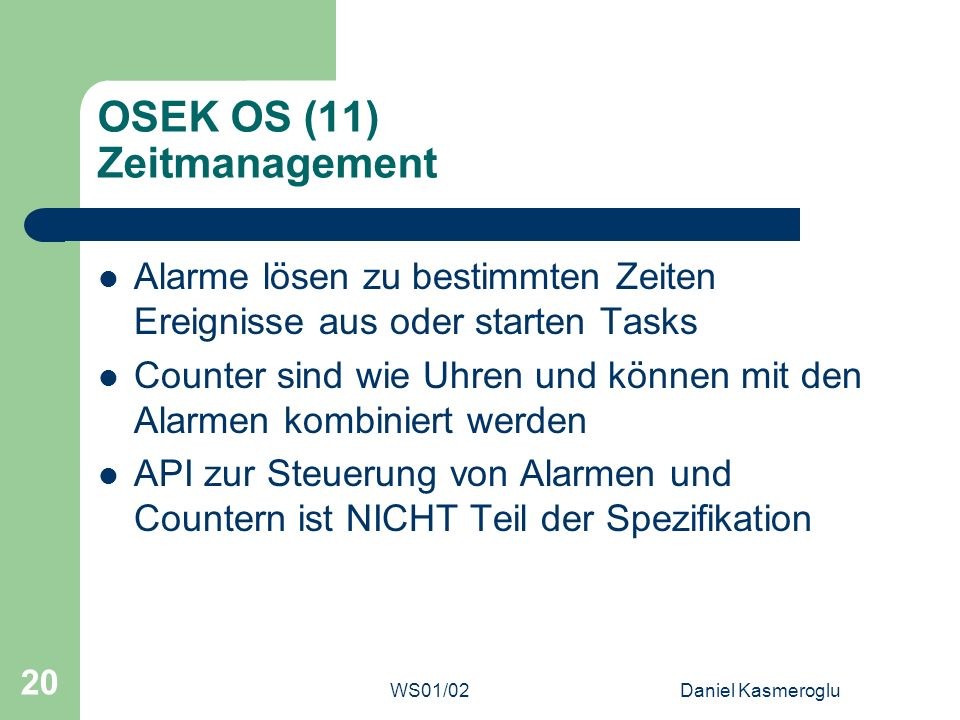 OSEK OS (11) Zeitmanagement