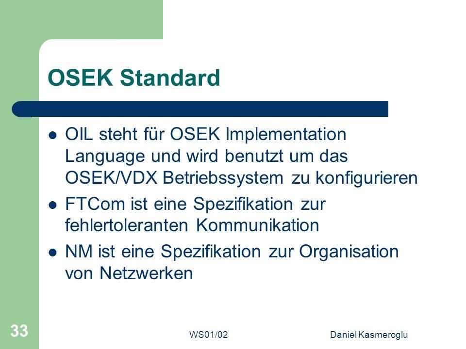 OSEK Standard OIL steht für OSEK Implementation Language und wird benutzt um das OSEK/VDX Betriebssystem zu konfigurieren.