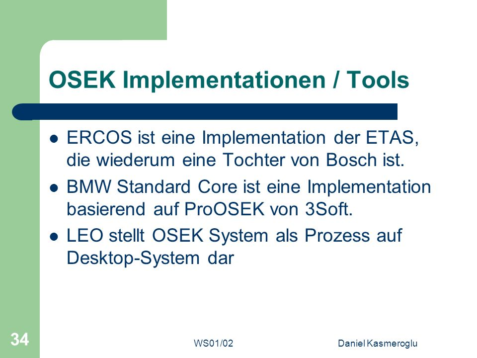 OSEK Implementationen / Tools
