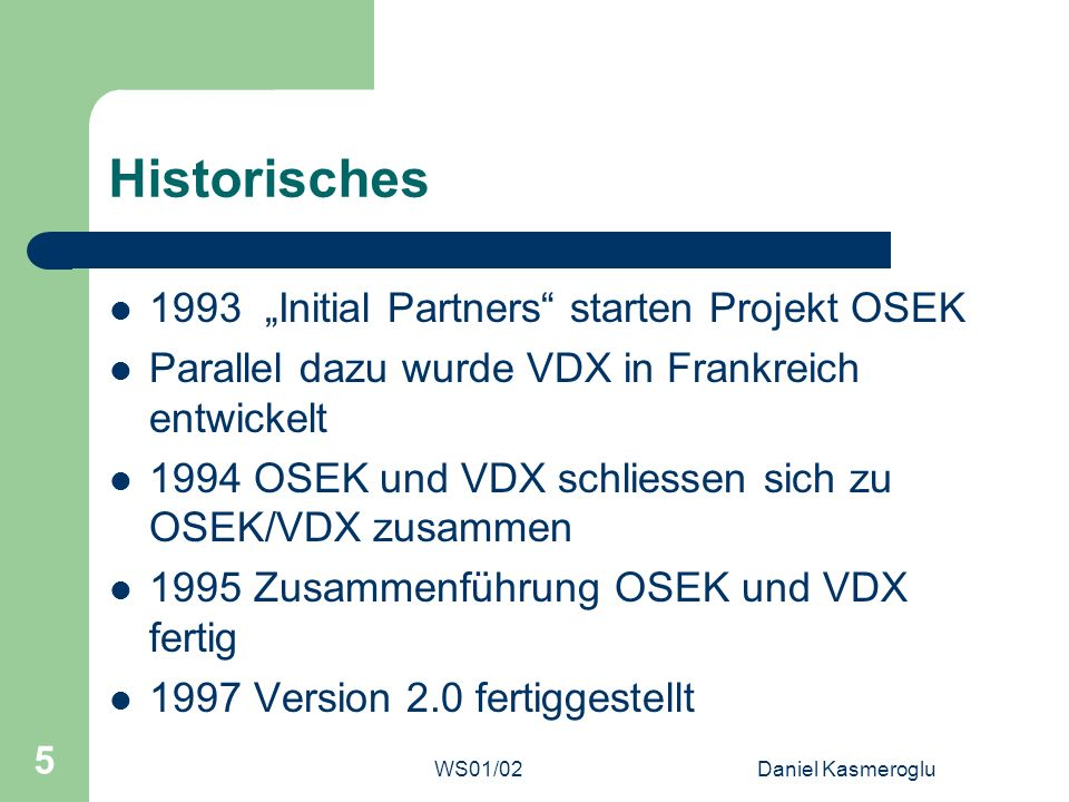 "Historisches 1993 ""Initial Partners starten Projekt OSEK"