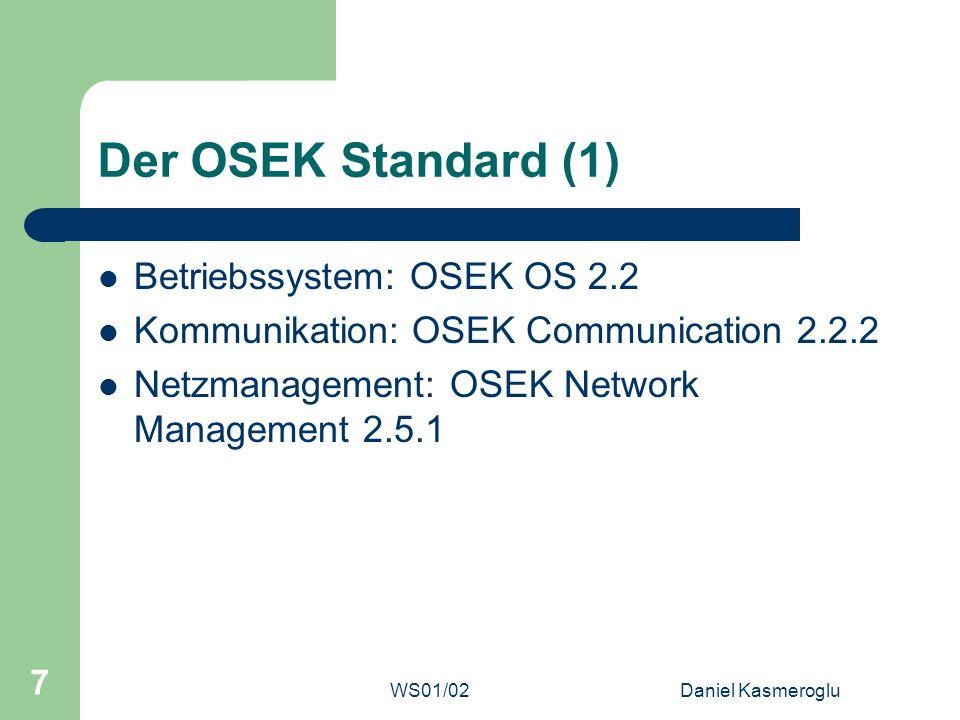 Der OSEK Standard (1) Betriebssystem: OSEK OS 2.2