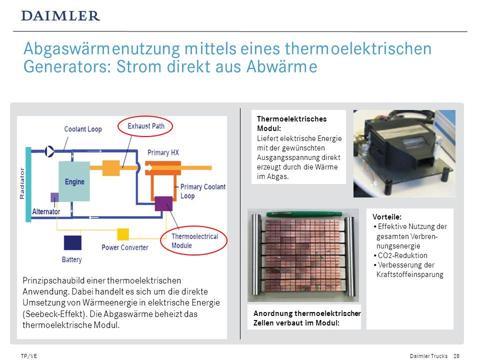 Abgaswärmenutzung mittels eines thermoelektrischen Generators: Strom direkt aus Abwärme