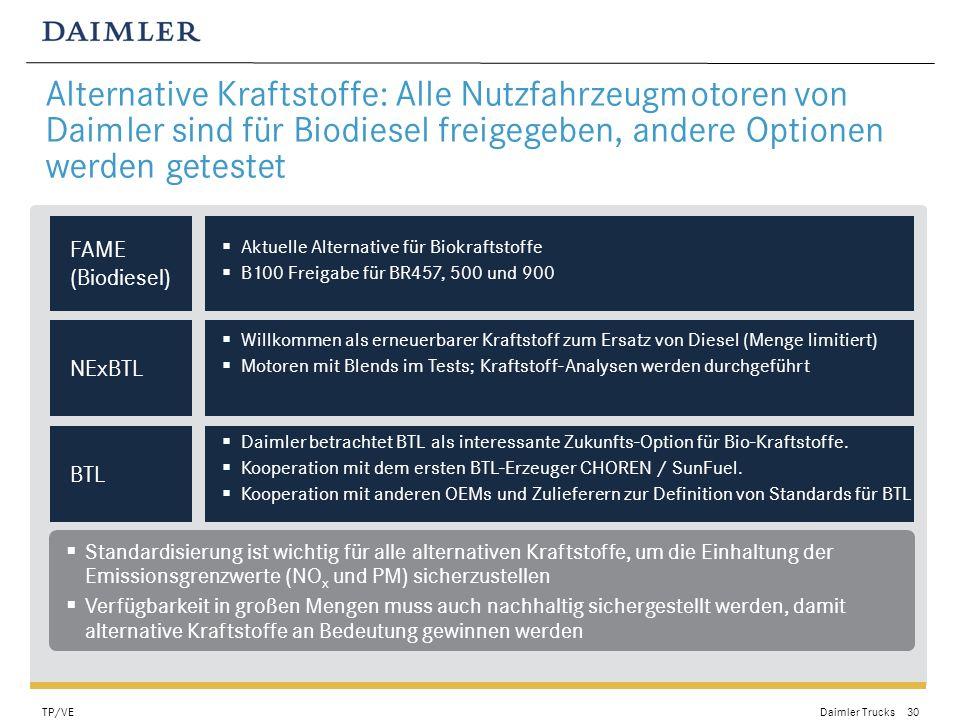Alternative Kraftstoffe: Alle Nutzfahrzeugmotoren von Daimler sind für Biodiesel freigegeben, andere Optionen werden getestet
