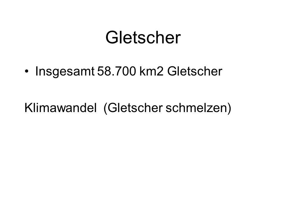 Gletscher Insgesamt 58.700 km2 Gletscher