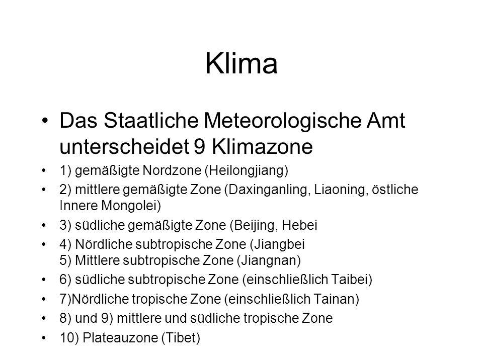 Klima Das Staatliche Meteorologische Amt unterscheidet 9 Klimazone