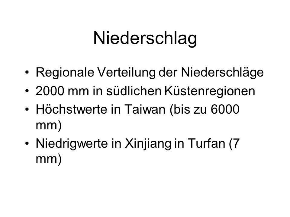 Niederschlag Regionale Verteilung der Niederschläge