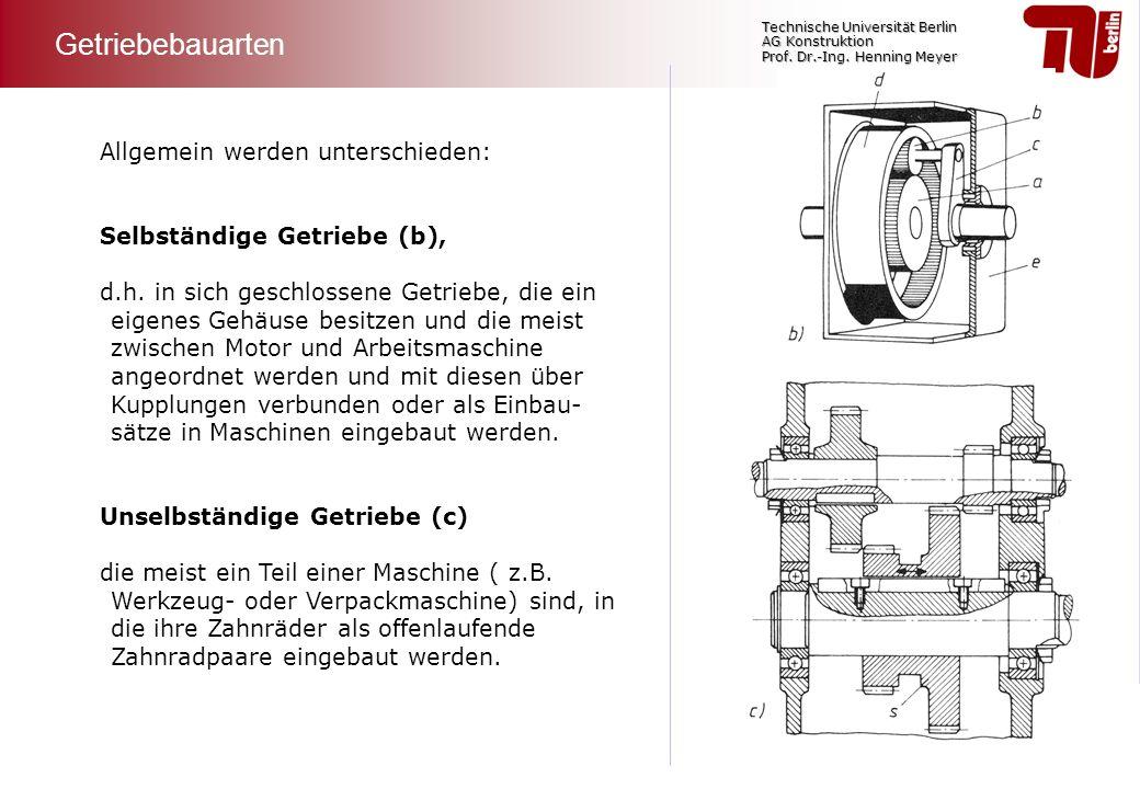 Getriebebauarten Allgemein werden unterschieden: