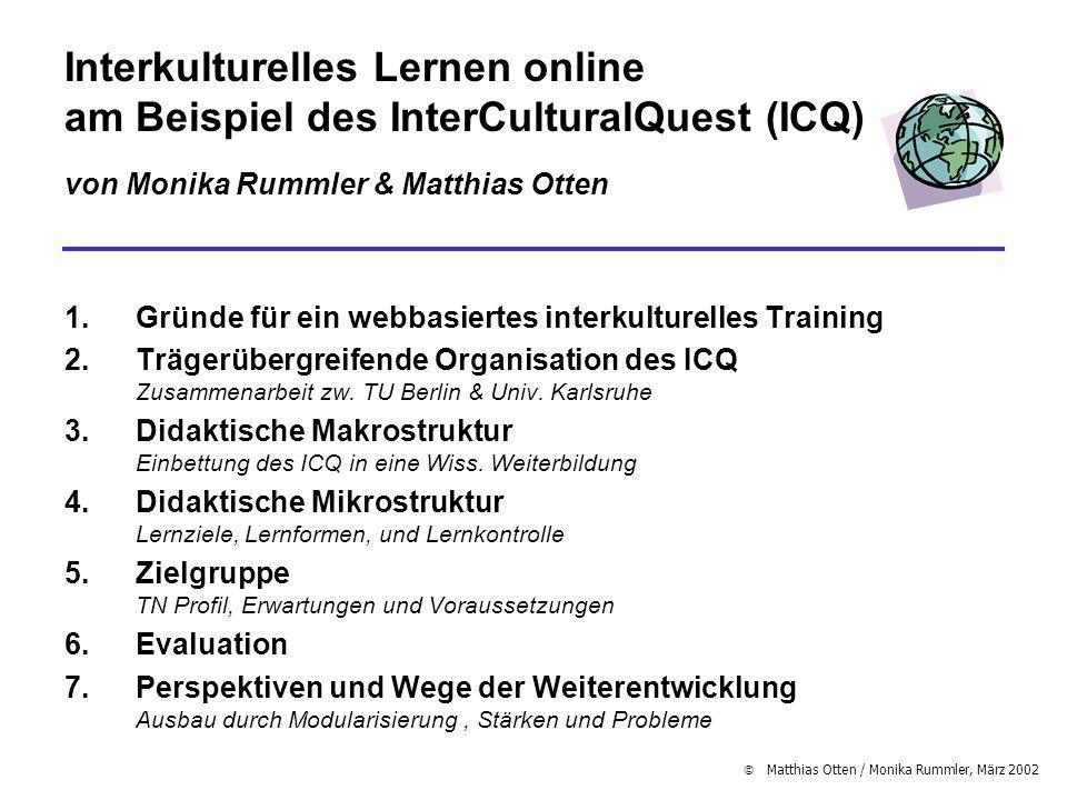 Interkulturelles Lernen online am Beispiel des InterCulturalQuest (ICQ) von Monika Rummler & Matthias Otten