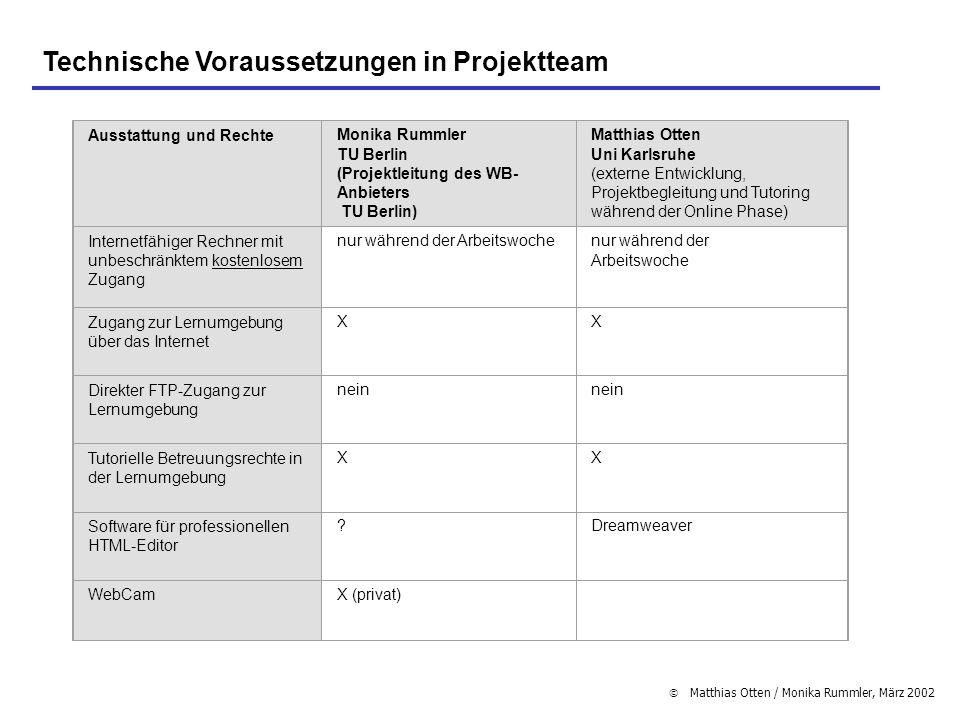 Technische Voraussetzungen in Projektteam