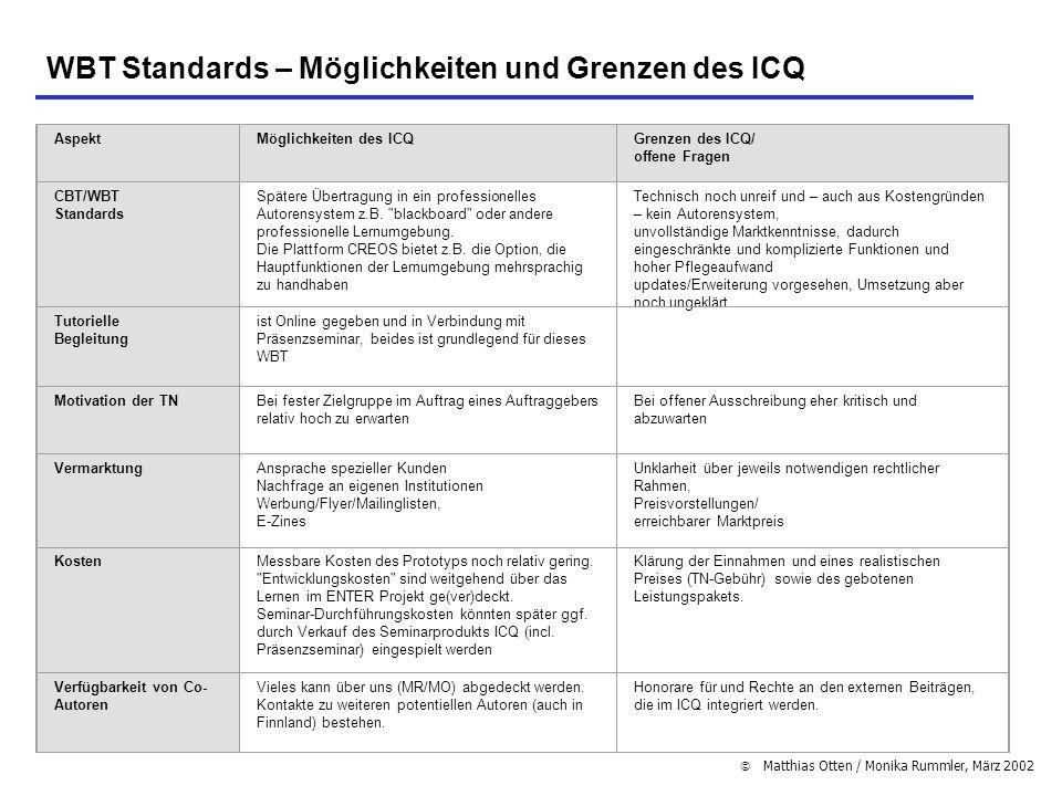 WBT Standards – Möglichkeiten und Grenzen des ICQ