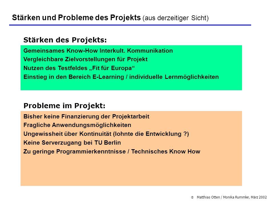 Stärken und Probleme des Projekts (aus derzeitiger Sicht)