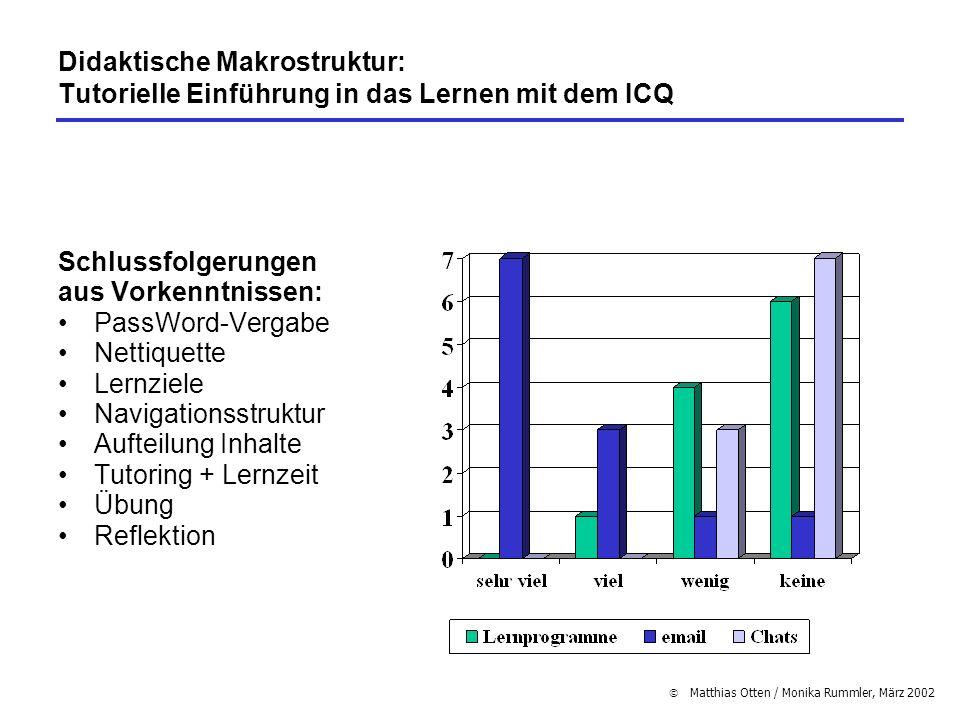 Didaktische Makrostruktur: Tutorielle Einführung in das Lernen mit dem ICQ