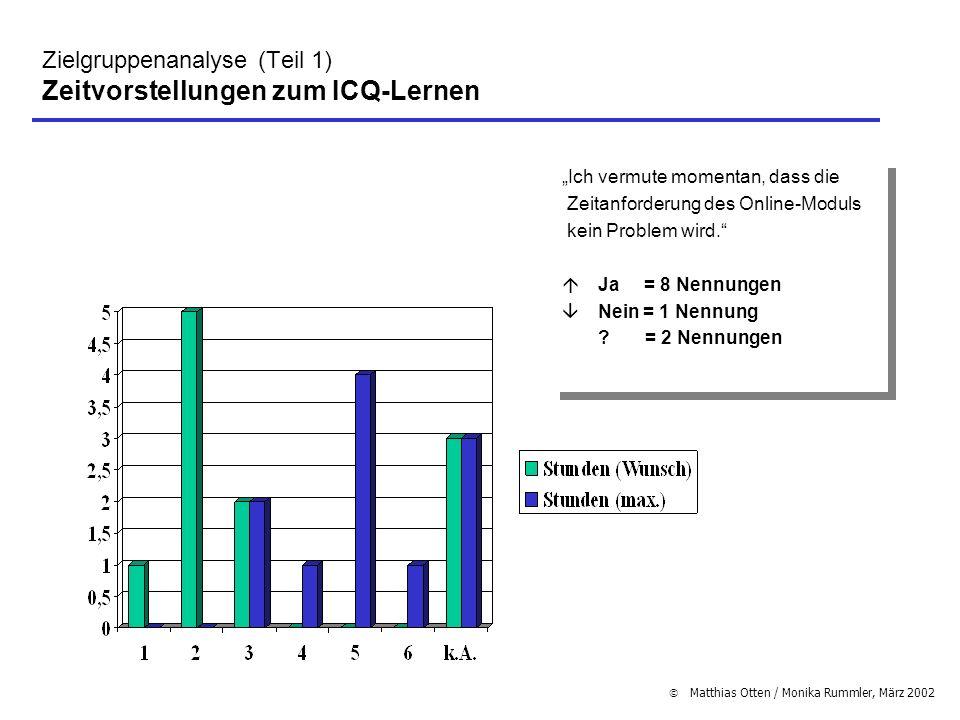 Zielgruppenanalyse (Teil 1) Zeitvorstellungen zum ICQ-Lernen
