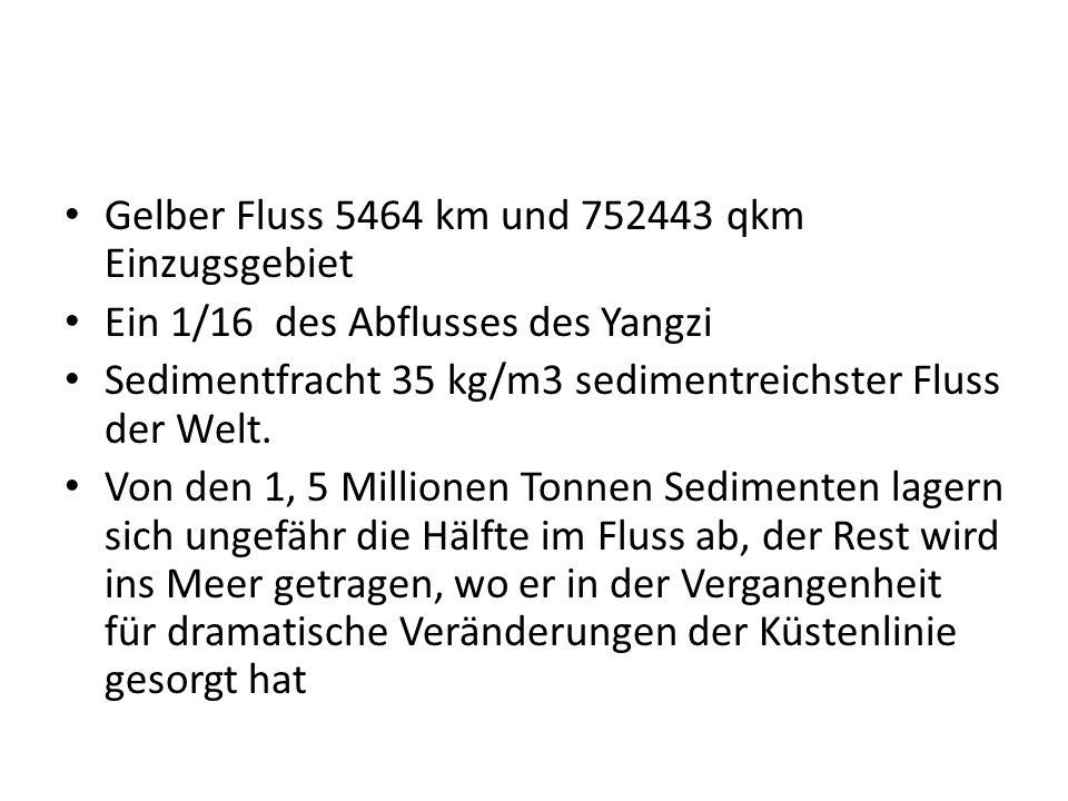 Gelber Fluss 5464 km und 752443 qkm Einzugsgebiet