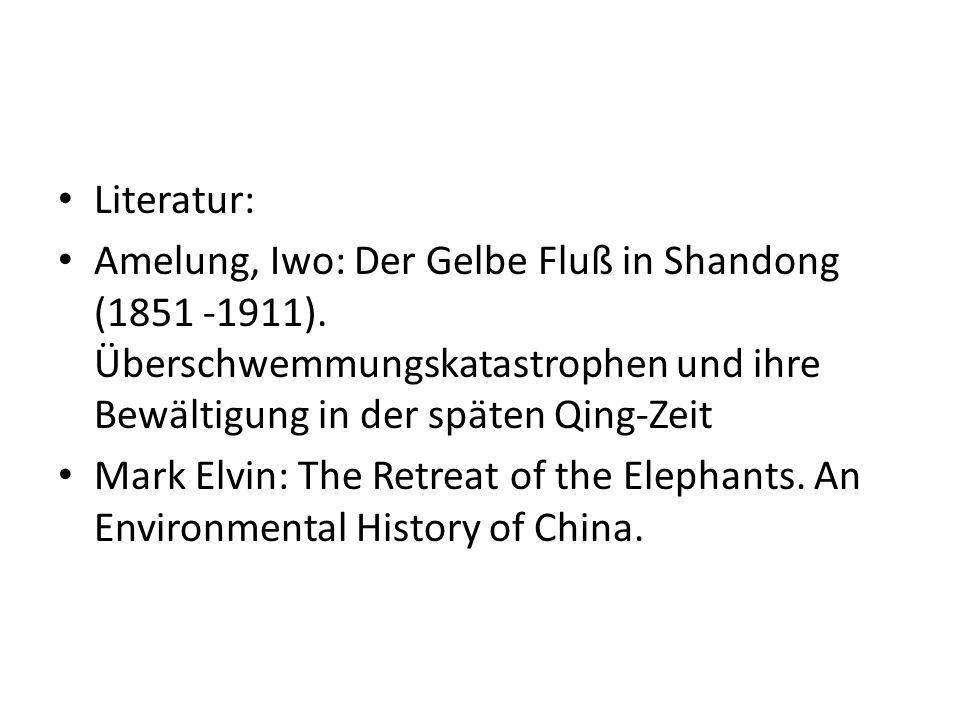 Literatur: Amelung, Iwo: Der Gelbe Fluß in Shandong (1851 -1911). Überschwemmungskatastrophen und ihre Bewältigung in der späten Qing-Zeit.