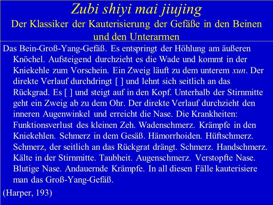 Zubi shiyi mai jiujing Der Klassiker der Kauterisierung der Gefäße in den Beinen und den Unterarmen