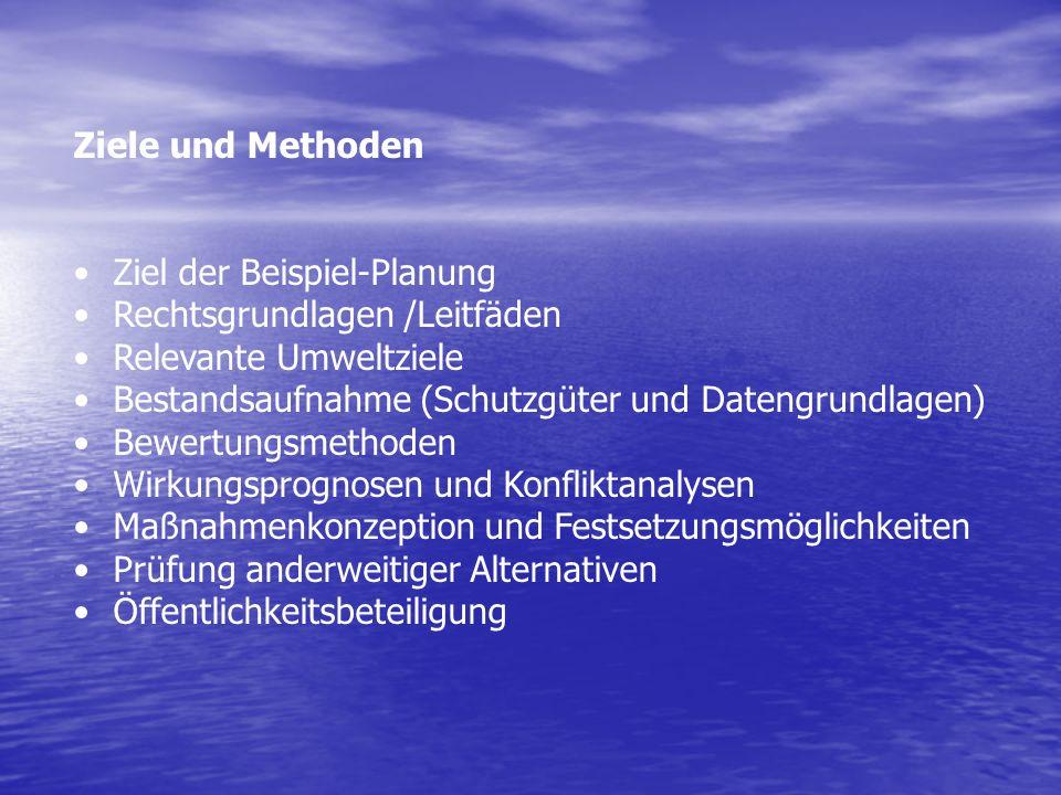 Ziele und Methoden Ziel der Beispiel-Planung. Rechtsgrundlagen /Leitfäden. Relevante Umweltziele.