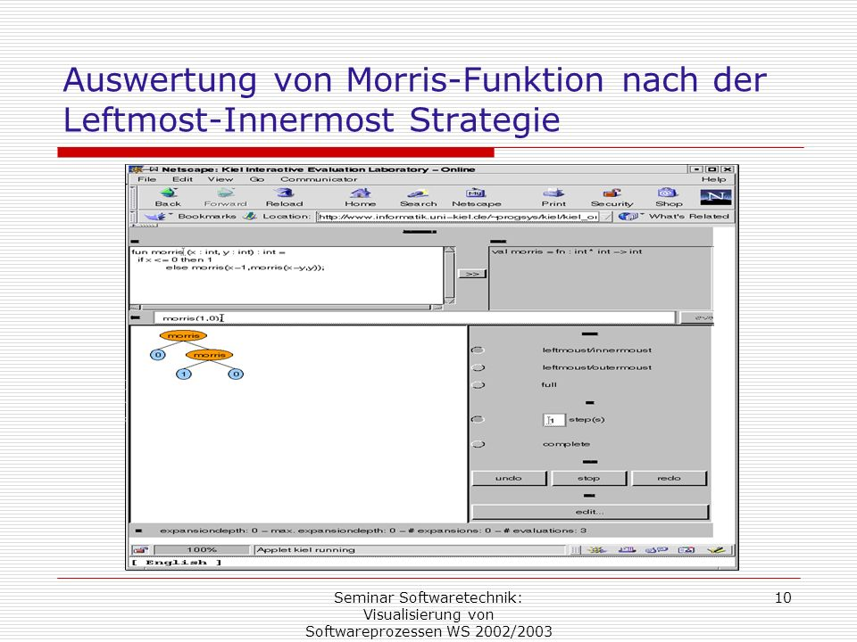 Auswertung von Morris-Funktion nach der Leftmost-Innermost Strategie