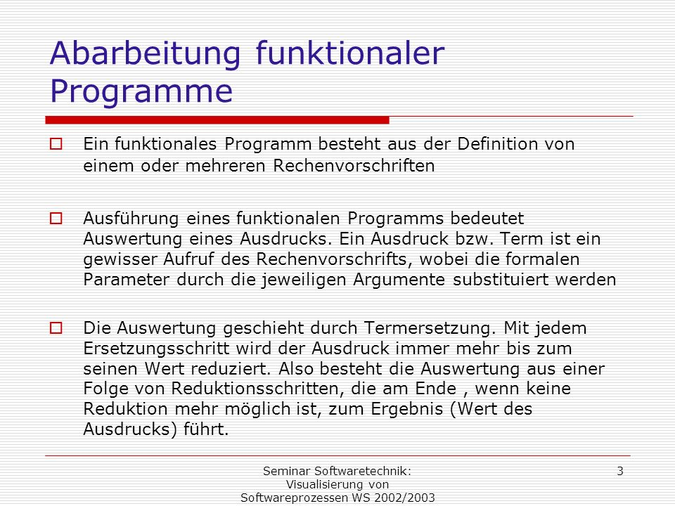 Abarbeitung funktionaler Programme