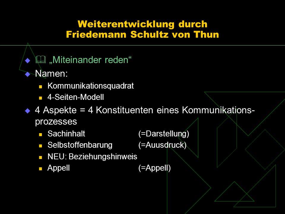 Weiterentwicklung durch Friedemann Schultz von Thun