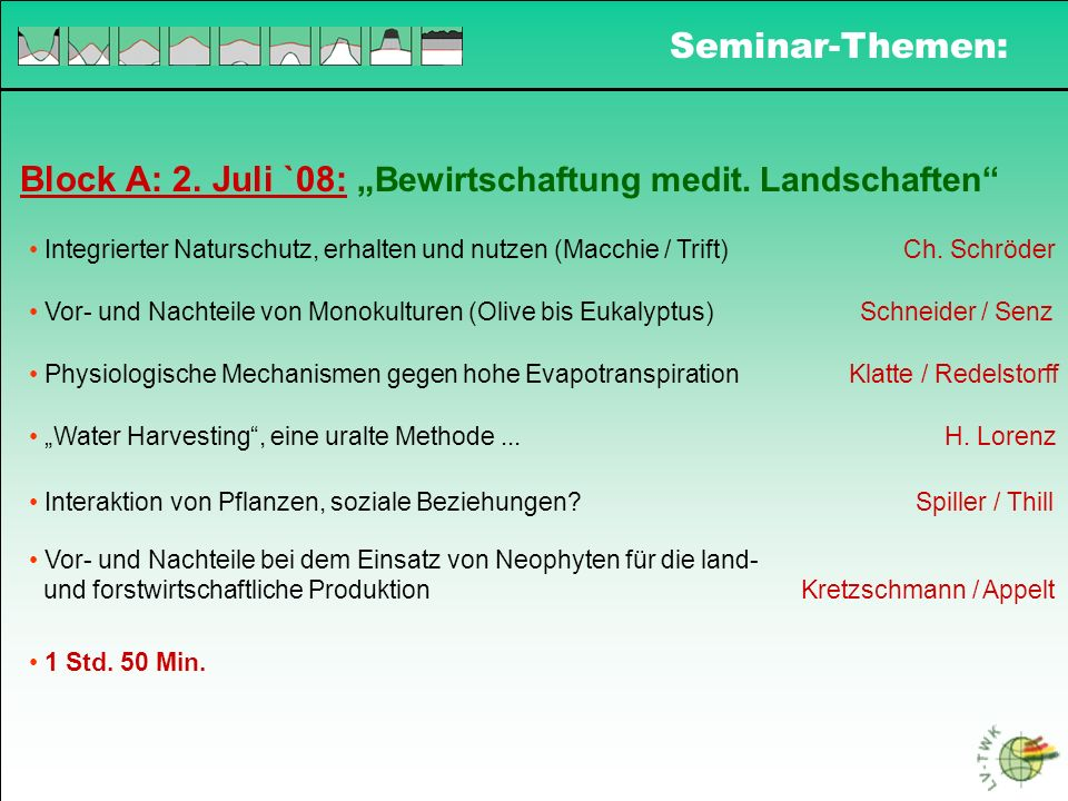 """Block A: 2. Juli `08: """"Bewirtschaftung medit. Landschaften"""